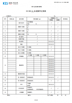 合成操作记录表C