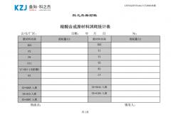 合成原材料消耗统计表